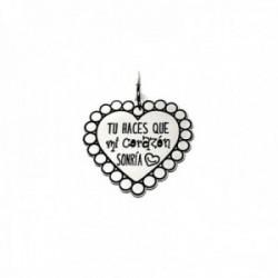 Colgante plata Ley 925m corazón 22mm. mensaje TU HACES QUE MI CORAZÓN SONRÍA borde dibujo