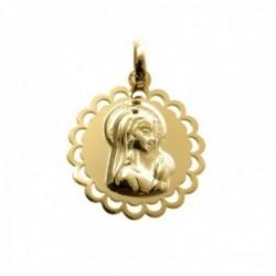Medalla colgante plata Ley 925m chapada oro 19mm. Virgen Niña lisa borde calado forma