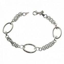 Pulsera plata Ley 925m combinada 19cm. cadena doble asas ovaladas cierre mosquetón