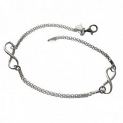Pulsera plata Ley 925m cadena 19cm. detalle infinitos lisa cierre mosquetón