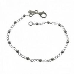 Pulsera plata Ley 925m cadena 19cm. alterna bolitas cierre mosquetón