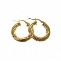 Pendientes plata Ley 925m chapados oro aros 25mm. galloneados detalle cierre palillo