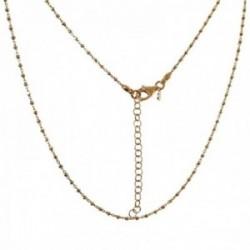 Cadena plata Ley 925m chapada oro 50cm. combinada bolitas talladas cierre mosquetón
