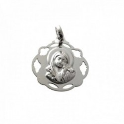 Medalla colgante plata Ley 925m Virgen Niña 20mm. lisa cerco formas caladas