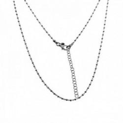 Cadena plata Ley 925m rodiada 40cm. combinada bolitas talladas cierre mosquetón