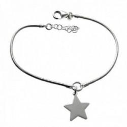 Pulsera plata Ley 925m cadena cola de topo 17cm detalle estrella 14mm lisa colgando cierre mosquetón