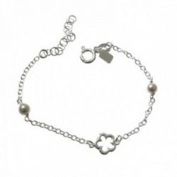 Pulsera plata Ley 925m infantil 13cm. perlas flor calada cadena rolo cierre reasa