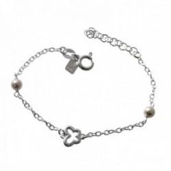 Pulsera plata Ley 925m infantil 13cm. perlas mariposa calada cadena rolo cierre reasa