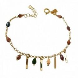 Pulsera plata Ley 925m chapada oro 16cm. barras 10mm. lisas piedras colores colgando cadena rolo