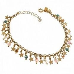 Pulsera plata Ley 925m chapada oro 17cm. detalle piedras colores estrellas colgando cierre reasa