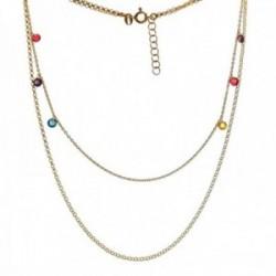 Gargantilla plata Ley 925m chapada oro cadena doble rolo larga 40.5cm. corta 35cm. piedras colores