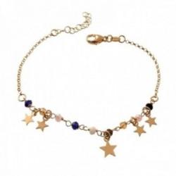 Pulsera plata Ley 925m chapada oro 17.5cm. estrellas piedras colores colgando cierre mosquetón