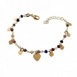 Pulsera plata Ley 925m chapada oro 16cm. piedras colores corazones lisos colgando cierre mosquetón