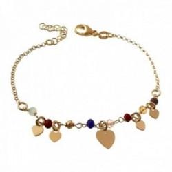 Pulsera plata Ley 925m chapada oro 17cm. piedras colores corazones lisos colgando cierre mosquetón