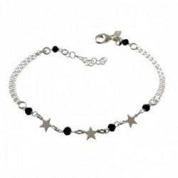 Pulsera plata Ley 925m cadena 18cm. detalle piedras negras estrellas lisas cierre mosquetón