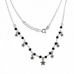 Gargantilla plata Ley 925m cadena rolo 46cm. piedras negras estrellas lisas colgando cierre reasa