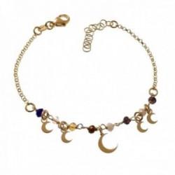 Pulsera plata Ley 925m cadena rolo 17cm. piedras colores lunas lisas colgando cierre mosquetón