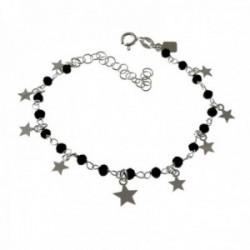 Pulsera plata Ley 925m cadena 16cm. detalle piedras negras estrellas lisas colgando cierre reasa