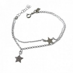 Pulsera plata Ley 925m cadena doble 17cm. estrella lisa estrella circonitas colgando cierre reasa