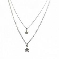 Gargantilla plata Ley 925m cadena doble corta 34cm. estrella lisa larga 39.5cm. estrella circonitas