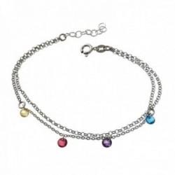 Pulsera plata Ley 925m rodiada cadena doble 18cm. discos piedras colores colgando cierre reasa