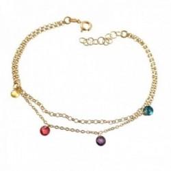 Pulsera plata Ley 925m chapada oro cadena doble 18cm. discos piedras colores colgando cierre reasa