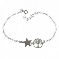 Pulsera plata Ley 925m cadena rolo 18cm. centro árbol de la vida calado estrella lisa cierre reasa