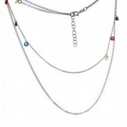 Gargantilla plata Ley 925m rodiada cadena doble larga 41cm. corta 34cm. discos piedras colores