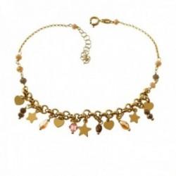 Pulsera tobillera 21.5cm. plata Ley 925m chapada oro piedras colores estrellas corazones colgando
