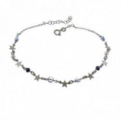 Pulsera tobillera 22cm. plata Ley 925m rodiada piedras tonos azules estrellas lisas cierre reasa