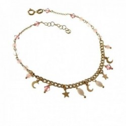 Pulsera tobillera 22cm plata Ley 925m chapada oro piedras tonos rosas estrellas lunas colgando reasa