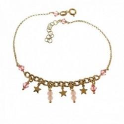Pulsera tobillera 22cm. plata Ley 925m chapada oro piedras rosas estrellas colgando cierre reasa