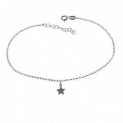 Pulsera tobillera 21.5cm. plata Ley 925m estrella lisa colgando cadena rolo cierre reasa