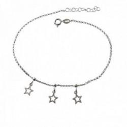 Pulsera tobillera 21.5cm. plata Ley 925m detalle tres estrellas caladas colgando cierre reasa