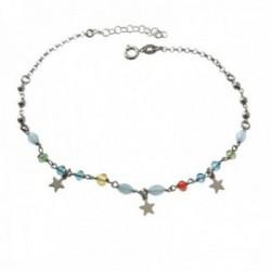 Pulsera tobillera 22cm. plata Ley 925m piedras colores estrellas colgando lisas bolitas cierre reasa