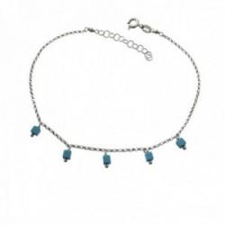 Pulsera tobillera 21.5cm. plata Ley 925m rodiada piedras azul claro colgando cadena rolo reasa