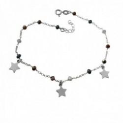 Pulsera tobillera 22cm. plata Ley 925m rodiada piedras colores estrellas lisas colgando cierre reasa