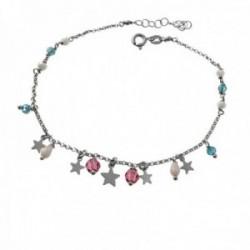 Pulsera tobillera 22cm. plata Ley 925m rodiada estrellas lisas piedras colores colgando cierre reasa