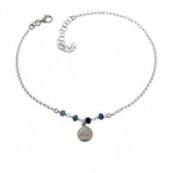 Pulsera tobillera 22cm. plata Ley 925m piedras tonos azules moneda colgando cierre mosquetón