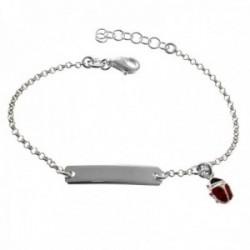 Esclava plata Ley 925m pulsera infantil 14.5cm. cadena rolo mariquita esmaltada chapa 20x5mm. lisa
