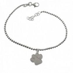 Pulsera plata Ley 925m 17cm. cadena bolitas 2mm. huella perro colgando cierre mosquetón