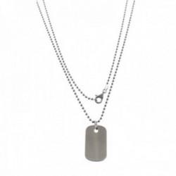 Collar plata Ley 925m cadena bolas 60cm. chapa 24x15mm. militar lisa rectangular cierre mosquetón