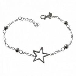 Pulsera plata Ley 925m 16cm. cadena alterna 3x1 bolitas estrella calada cierre mosquetón