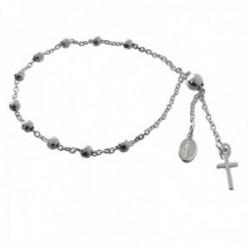 Pulsera rosario plata Ley 925m bolas 4mm. talladas Virgen de la Milagrosa cruz cierre adaptable