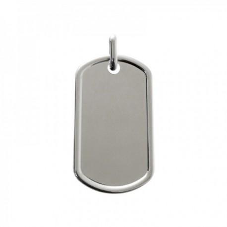 Colgante plata Ley 925m chapa 40mm. lisa rectangular redondeada detalle filo