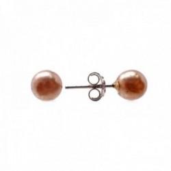 Pendientes plata Ley 925m perla 6mm. sintética marrón cierre presión mujer