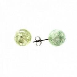 Pendientes plata Ley 925m bola 10mm. cristal detalles verde cierre presión mujer