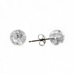 Pendientes plata Ley 925m bola 8mm. cristal detalles blanco cierre presión mujer