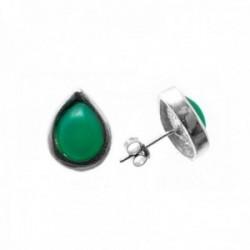 Pendientes plata Ley 925m lágrima piedra verde 14x12mm. cierre presión mujer