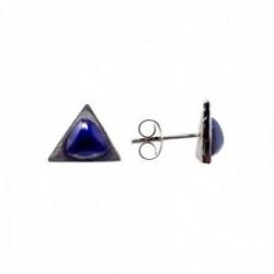 Pendientes plata Ley 925m triángulo piedra azul 10x11mm. mujer cierre presión